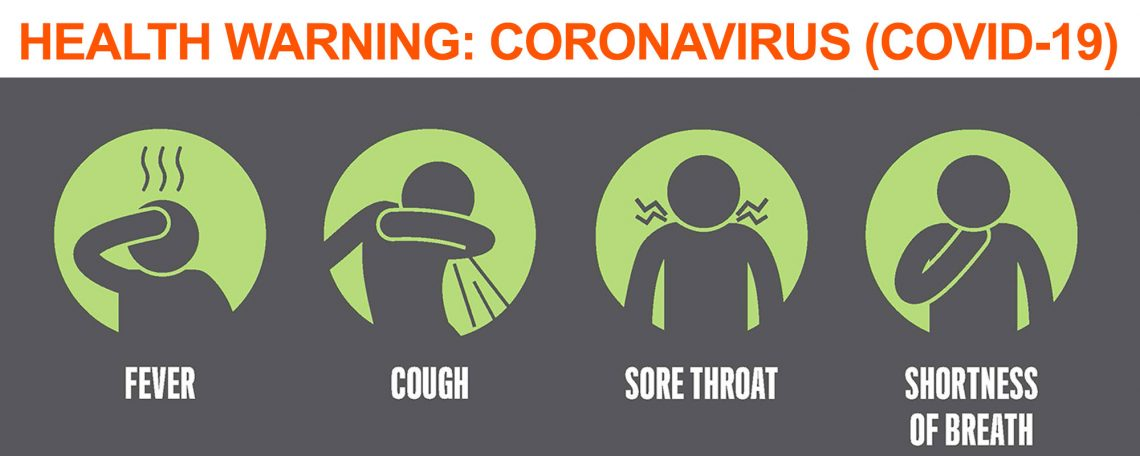 SIlhouette of person showing symptoms of COVID-19: Fever, cough, sore throat & shortness of breath.